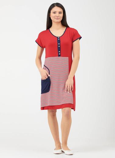 Sementa Kadın Patlı Cep Detaylı Marine Elbise - Kırmızı Kırmızı
